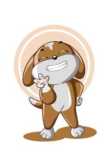 Маленькая коричневая собачка показывает ему зубы с ним, позирует мило