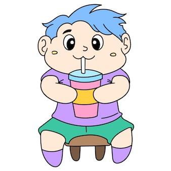 小さな子供がガラス、落書きアイコン画像からかわいい飲料水に座っています。漫画caharacterかわいい落書きドロー