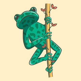 반점이있는 작은 이국적인 밝은 녹색 개구리는 나뭇 가지에 섬뜩합니다.