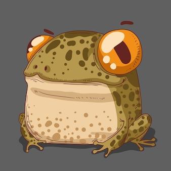 Маленькая лягушка в лесу с большими глазами