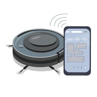 로봇 청소기를 제어하는 스마트폰 앱. 아파트 청소를 위한 현대적인 가전 제품입니다. 스마트 가전. 무선 통신. 프리미엄 벡터