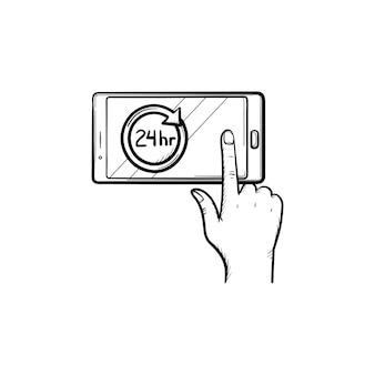 24時間シンボル手描きアウトライン落書きアイコンとスマートフォン