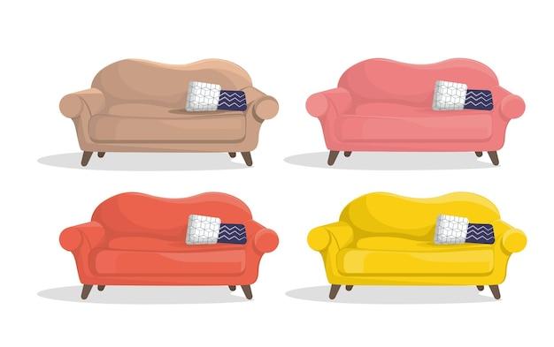 さまざまな色のソファ、白い背景の上の4つの家具のセット。