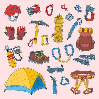 登山者登山装備ヘルメットカラビナとa登山のイラストイラストsot登山の登山用ツールまたは分離された登山家のための登山ツール