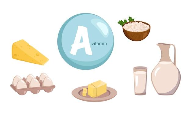 ビタミンa、カルシウム、タンパク質の供給源。乳製品のコレクション。ダイエット食品。健康的な生活様式。ベクトルイラスト