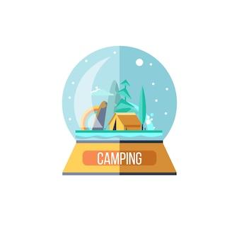 유리 공에 기념품입니다. 캠핑. 자연을 벗 삼아 떠나는 여행. 여름 야외 레크리에이션. 텐트에서 지내고, 낚시를 하고, 야외 게임을 합니다. 산 풍경입니다. 벡터 일러스트 레이 션.