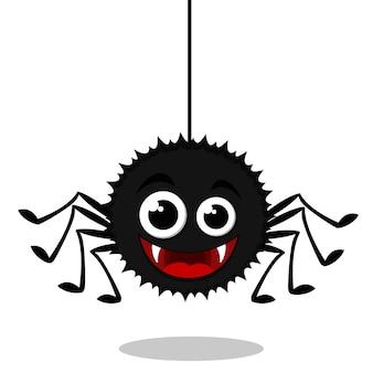 Паук висит на паутине и улыбается, персонаж на белом фоне.