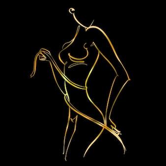 Спортивное тело. линейное искусство. красивая девушка нарисована одной линией. золото на черном. фитнес. вектор.