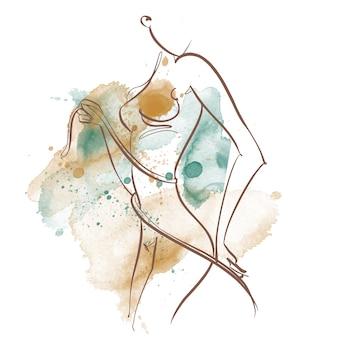Спортивное тело. линейное искусство. красивая девушка нарисована одной линией. на акварельном фоне. фитнес. вектор.