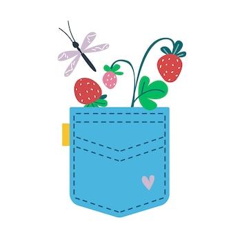 ブルージーンズのポケットにイチゴの小枝が入っています。漫画の子供のスタイルのベクトルイラスト。白い背景の上の孤立した面白いクリップアート。かわいいプリント。
