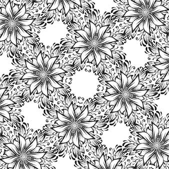 Квадратный черно-белый фон с цветами, орнаментальная текстура