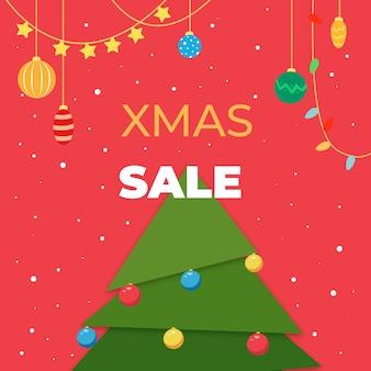 Квадратная рождественская открытка для рождественской распродажи с трехмерной елкой вектор