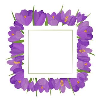 크로커스 꽃으로 만든 사각형 프레임 텍스트 엽서를 위한 빈 공간
