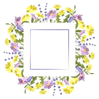 초원 꽃으로 만든 사각형 프레임 텍스트 엽서를 위한 빈 공간