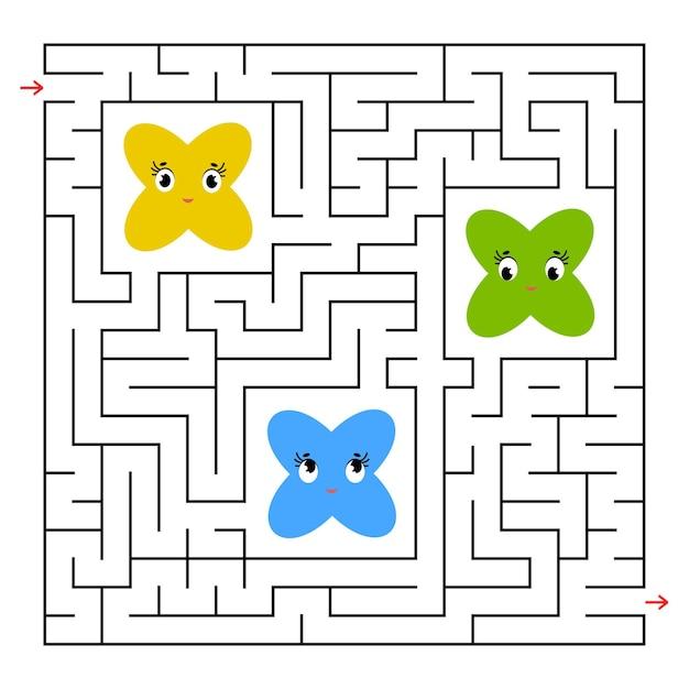 Квадратный лабиринт. собери всех сказочных мультяшек и найди выход из лабиринта.