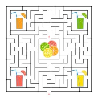 Квадратный лабиринт. соберите все стаканы с соком и найдите выход из лабиринта.
