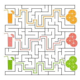 Квадратный лабиринт. найдите путь от сока к фруктам. простые плоские изолированные векторные иллюстрации. с ответом.