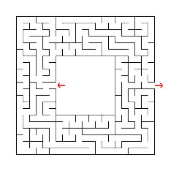 入口と出口のある正方形の迷路。