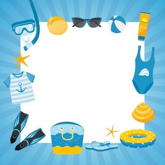파란색 줄무늬 프레임이 있는 정사각형 엽서와 바다 해변 휴가의 바다 꿈 요소