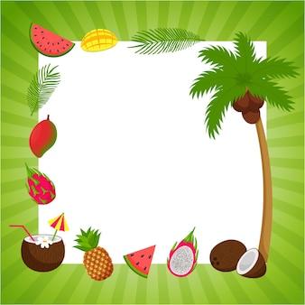 녹색 줄무늬 프레임과 여름이라는 단어가 있는 정사각형 엽서. 열대 과일과 야자수 잎