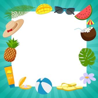 녹색 줄무늬 프레임과 여름 분위기라는 단어가 있는 정사각형 엽서. 여름 장식 요소