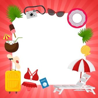 빨간색 줄무늬 프레임과 hello summer라는 단어가 있는 정사각형 엽서. 여름 장식 요소