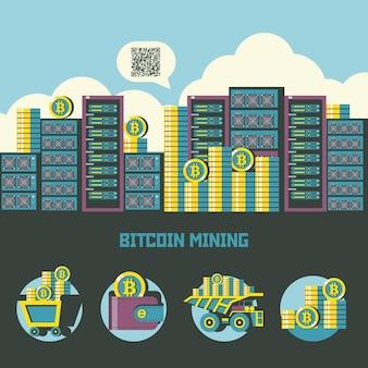 Стек монет биткойнов на фоне больших серверов. набор эмблем. тележка с биткойнами, кошелек с биткойнами, стопка монет, самосвал с биткойнами.