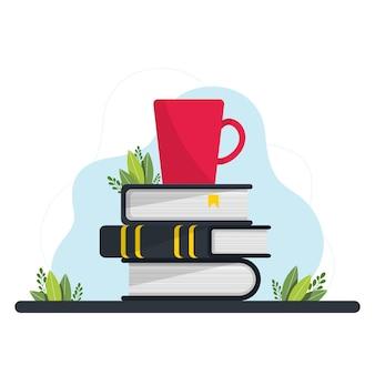책 더미와 머그잔. 책과 독서 세트입니다. 학술 연구를 위한 교과서. 문학 팬. 교과서 백과사전이 있는 벡터 책상, 작업 공간. 학습 교육, 문학 더미