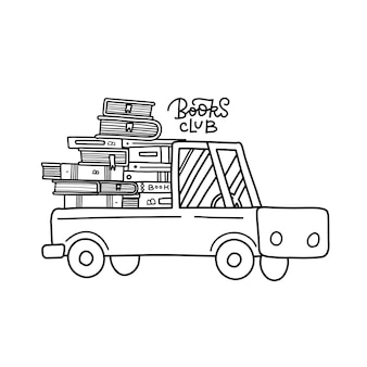 子供のためのトラックブッククラブの着色ページ内の本のスタックオンライン配信コンセプト配信v ...