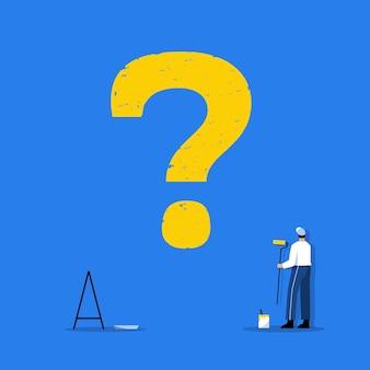 フラットなデザインで壁に大きな疑問符を描くスタッフ