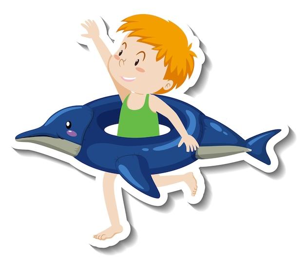 イルカの浮き輪を持つ少年のステッカーテンプレート