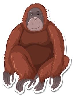 Шаблон наклейки с изображением обезьяны из мультфильма