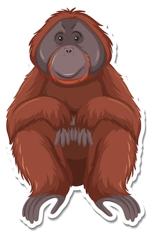 원숭이 만화 캐릭터의 스티커 템플릿