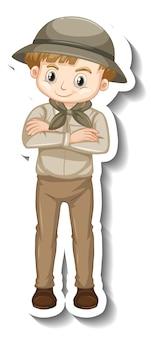 Шаблон стикера мальчика мультипликационного персонажа