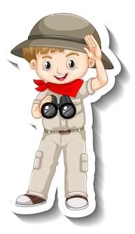 少年漫画のキャラクターのステッカーテンプレート