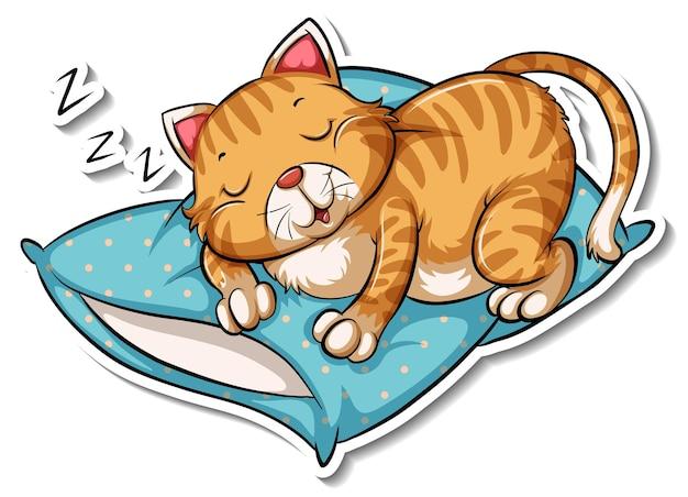 猫の漫画のキャラクターのステッカーテンプレート