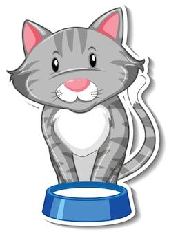 고양이 만화 캐릭터의 스티커 템플릿