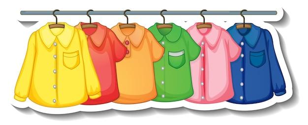 흰색 배경에 옷걸이에 많은 옷이 있는 옷걸이의 스티커 템플릿