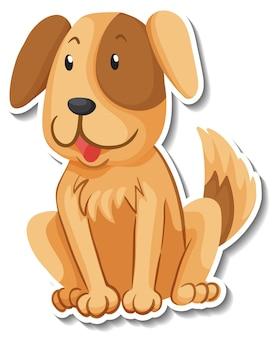 犬の漫画のキャラクターのステッカーテンプレート