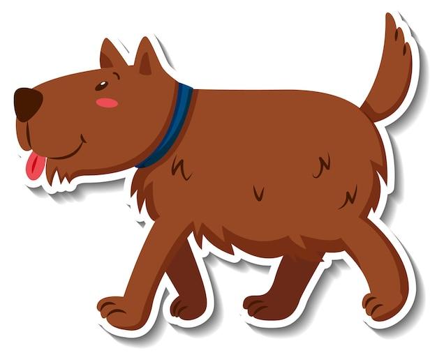 Шаблон стикера мультяшного персонажа собаки