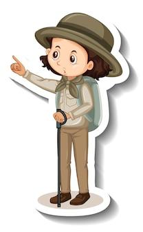 소녀 만화 캐릭터의 스티커 템플릿