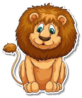 ライオンの漫画のキャラクターのステッカーテンプレート