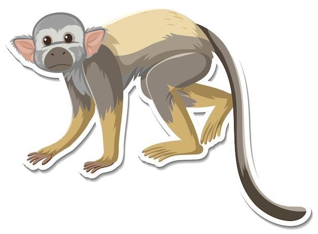 Шаблон стикера обезьяны мультипликационного персонажа