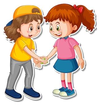 Шаблон стикера с изображением двух людей, которые пожимают друг другу руки с бактериями и вирусом