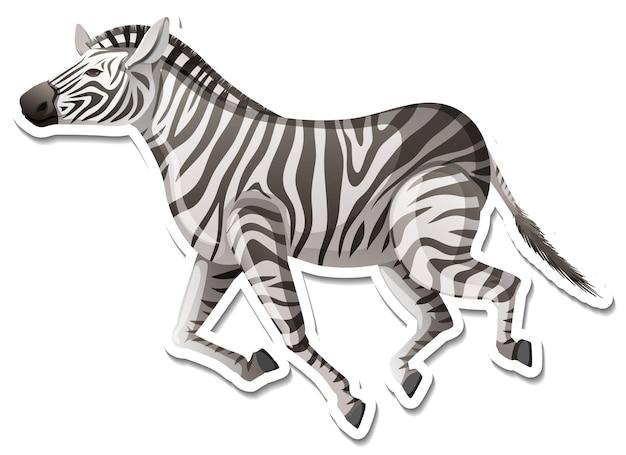 Шаблон стикера мультяшного персонажа зебры