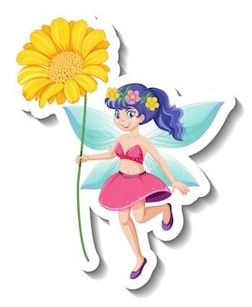 美しい妖精の漫画のキャラクターとステッカーテンプレート