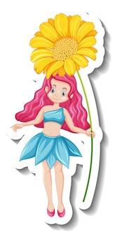 Шаблон стикера с красивым сказочным персонажем из мультфильма