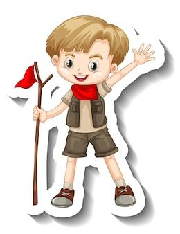 サファリ衣装の漫画のキャラクターの男の子とステッカーテンプレート