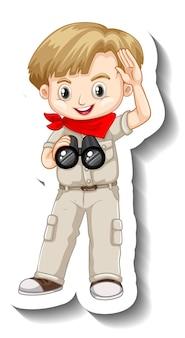 사파리 복장 만화 캐릭터의 소년과 스티커 템플릿