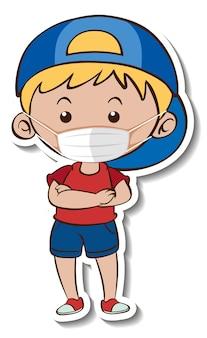 医療マスクの漫画のキャラクターを身に着けている男の子とステッカーテンプレート